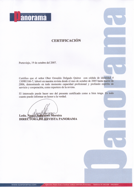 Revista Panorama Letter of Recommendation