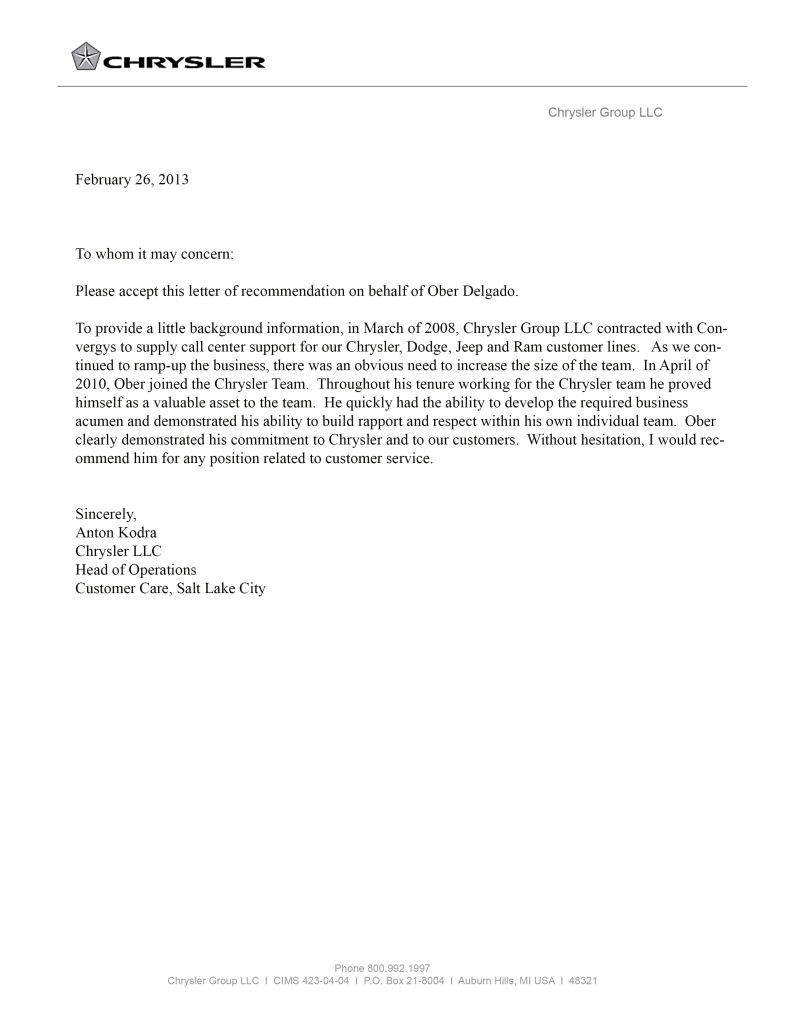 Chrysler Letter of Recommendation